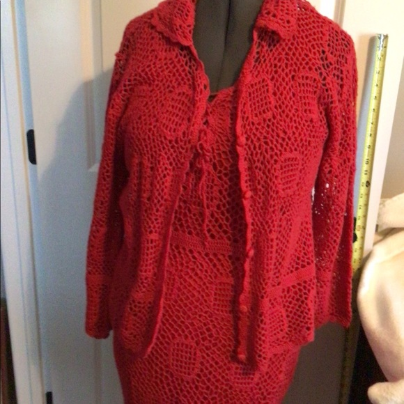Corset Front Crocheted Dress Beautiful Red Crocheted Calf Length Dress and Over Jacket by Monroe /& Main Slip Dress with Jacket Cover